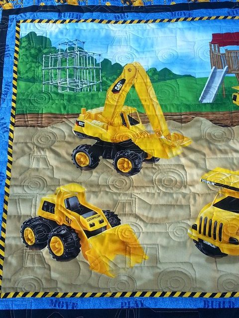Construction Equipment Baby Quilt Blanket By