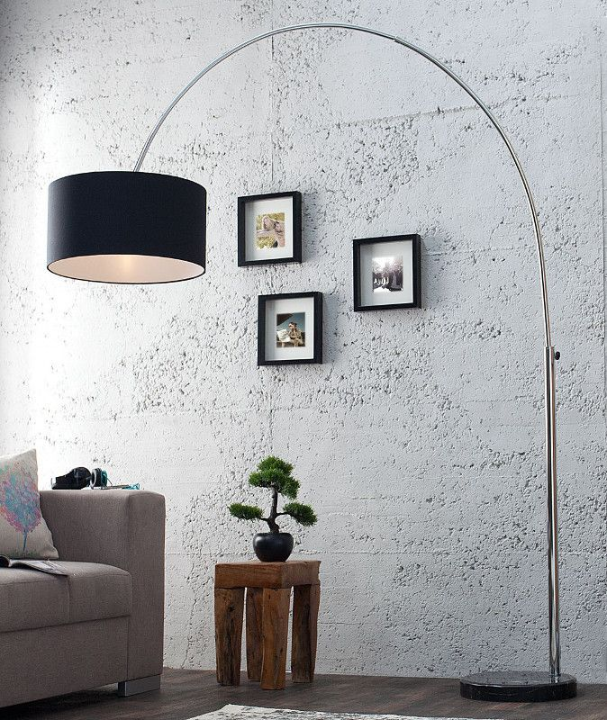 Design Bogenlampe Late Lounge Schwarz Leinen Div Living Room