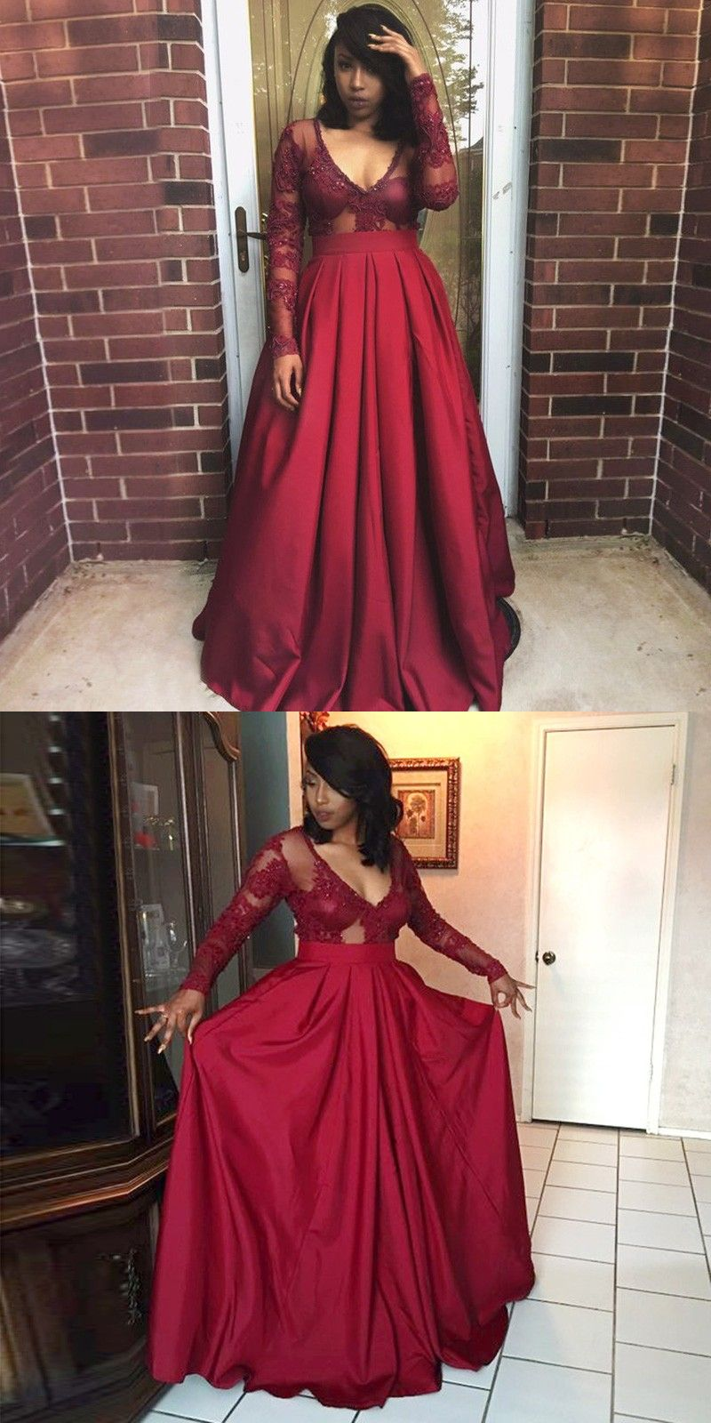Aline vneck pleated burgundy satin prom dress with pockets sleeves