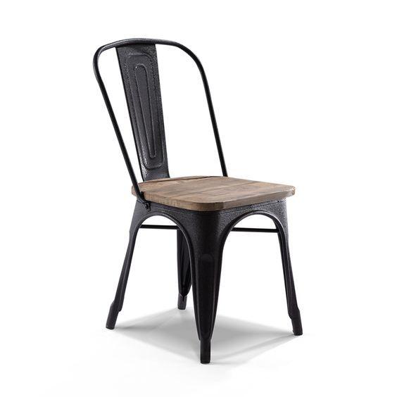 chaise de bar industrielle en bois et m tal style. Black Bedroom Furniture Sets. Home Design Ideas