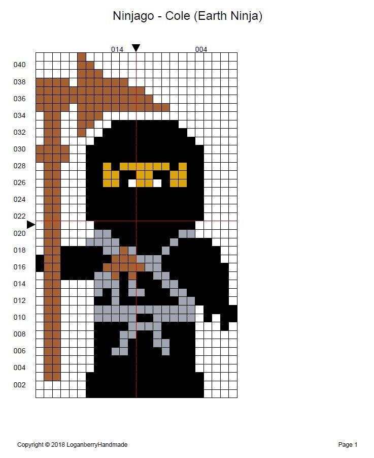 Ninjago Cross Stitch Pattern Free Cole Earth Ninja Black