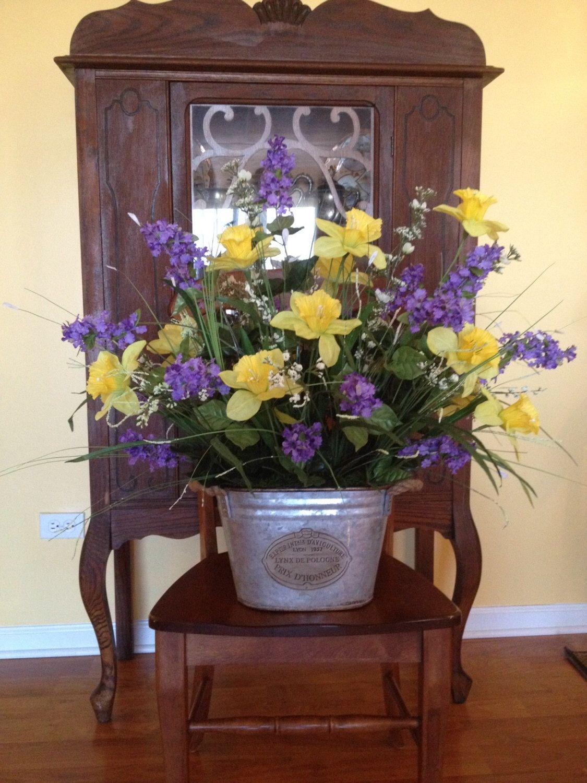 Silk Flower Arrangement In Rustic Container 36 W 28 H Handmade