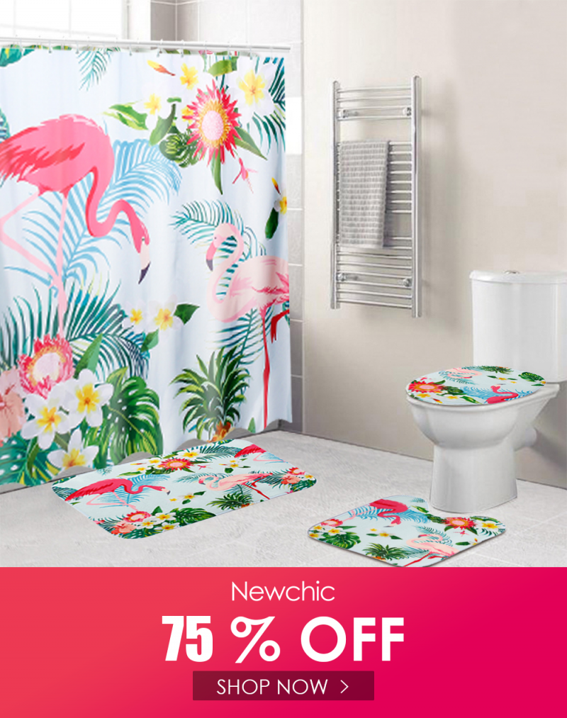 3 Pcs Carpet Set Toilet Cover Bathroom Shower Curtain Sets