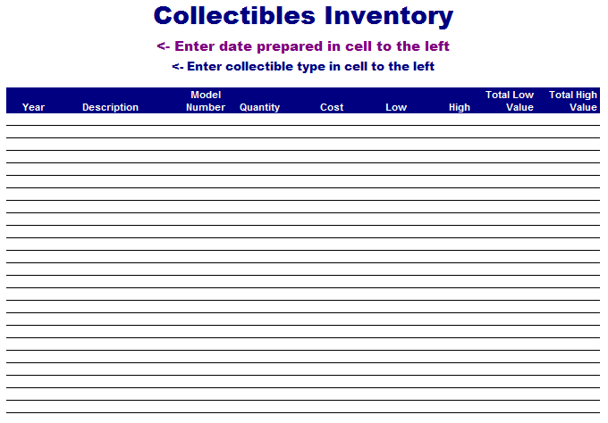 Collectibles Inventory Template  Free ThingsPatterns Templates