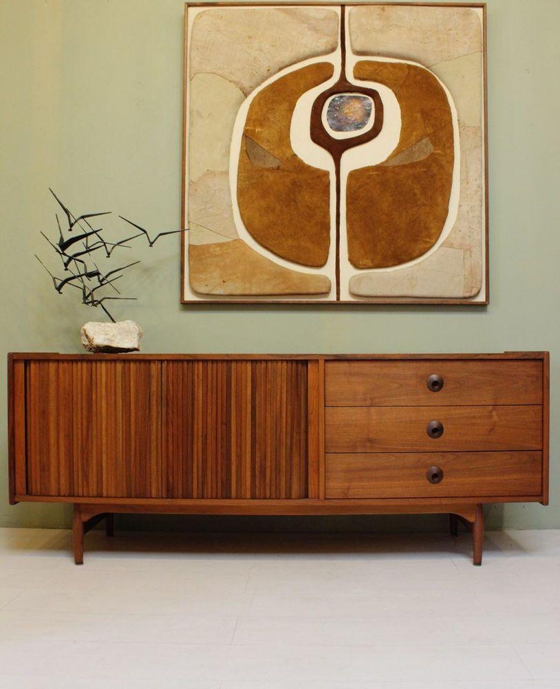 mid century modern credenza by john keal for brown saltman vintage walnut 1950s wood m bel. Black Bedroom Furniture Sets. Home Design Ideas