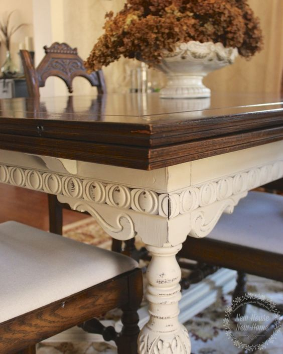 Painted Furniture Dining Room Table Update  Dining Room Tables Pleasing Chalk Paint Dining Room Chairs Inspiration