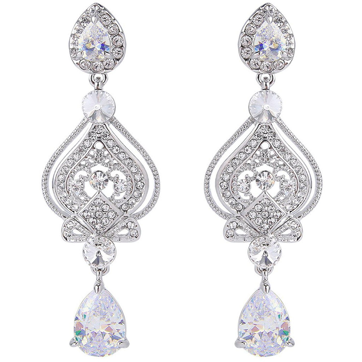 EVER FAITH® CZ Austrian Crystal Romantic Love Heart Chandelier Bridal Earrings G1WWdtss
