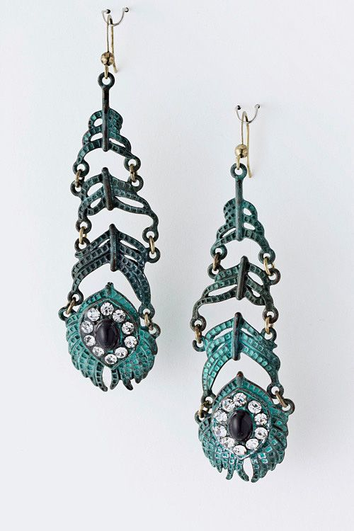 VIP $30 till Fri. Lightly hammered Patina finish depicting gorgeous Peacock feathers accented with Austrian Crystals and polished stone.