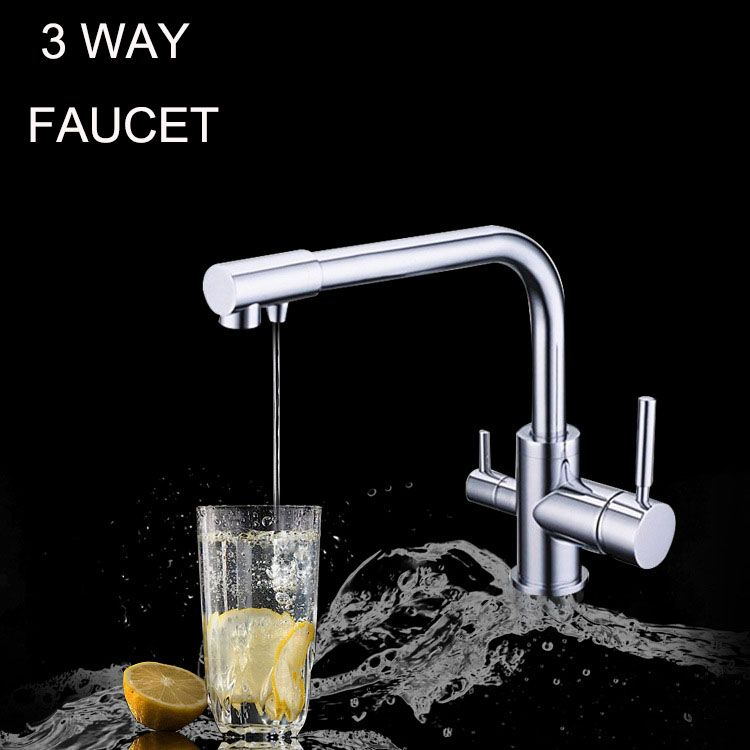 Deluxe Contemporary Triflow Three Way Chrome Tap Cold Hot Filtered Tap Water