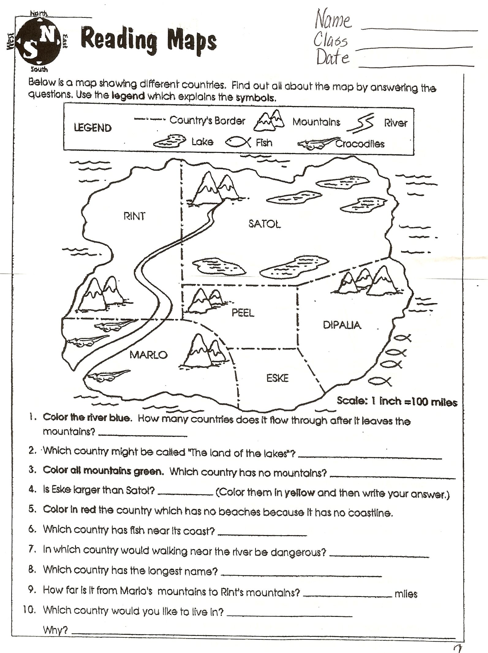 Social Studies Skills – Map Key Worksheet