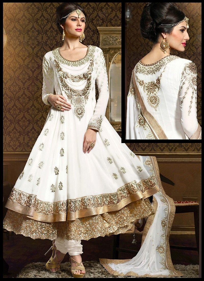 Zesty White Kasab Moti Work Anarkali Suit