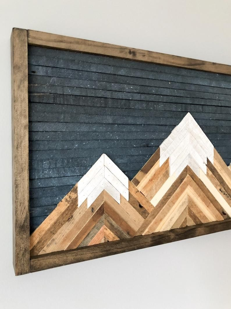 Mountain Wood Wall Art Decor In 2020 Wood Wall Art Decor Reclaimed Wood Wall Art Wall Art Decor
