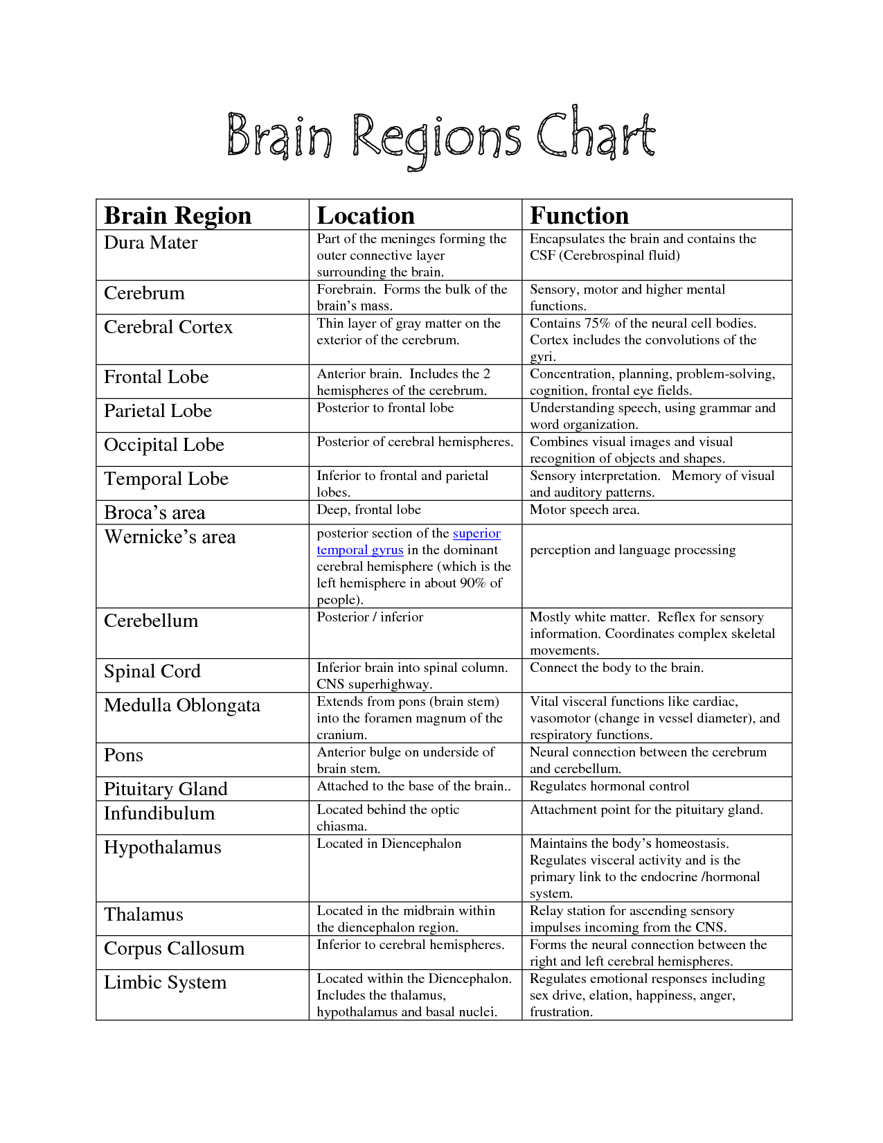 Brain Functions Chart Brain Parts