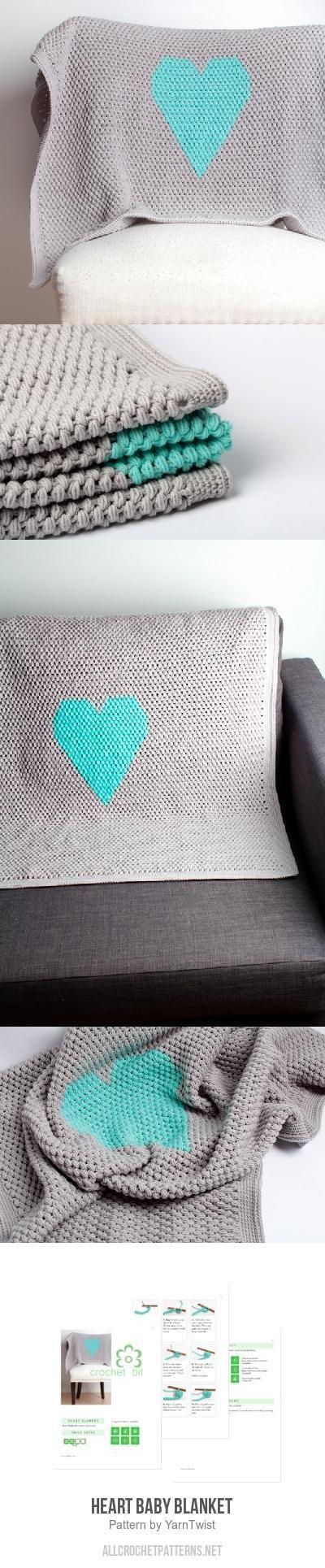 Heart Baby Blanket crochet pattern by YarnTwist | Manta y Camas