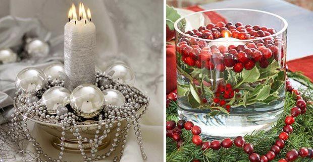 Centro navidad con velas christmas pinterest centros - Adornos navidenos para mesas ...