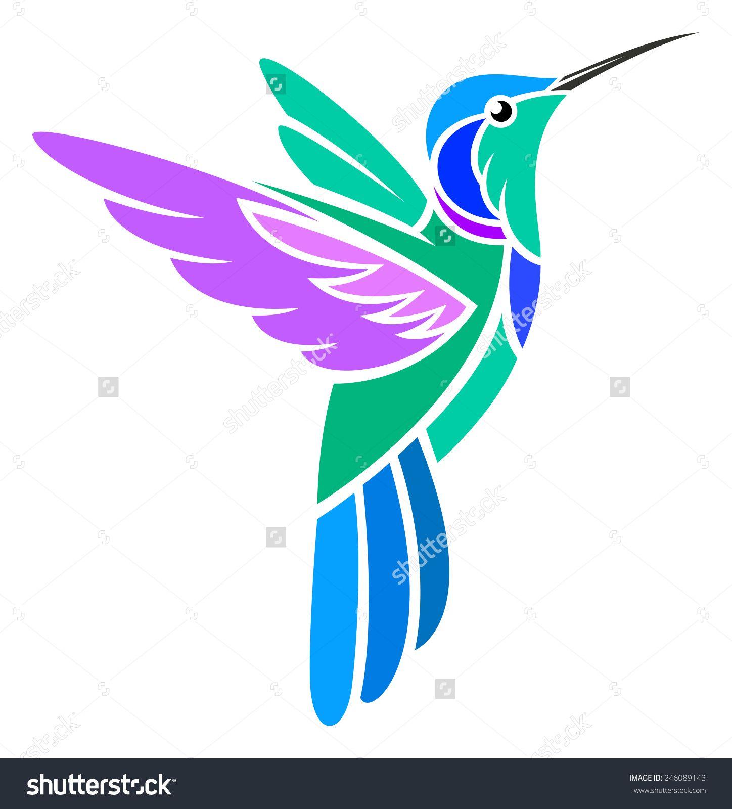 Stylized Hummingbird Green Violetear Ilustracion Vectorial En