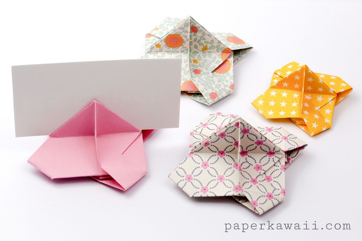 Origami card holder instructions origami cards origami and cards learn how to make an origami card holder for weddings parties display place cards jeuxipadfo Gallery