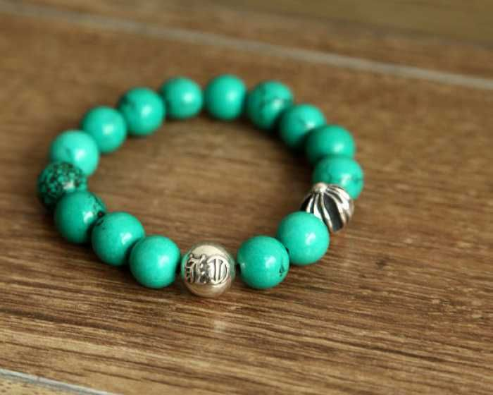 bce25c7486e Turquoise Beads Chrome Hearts Bracelets with Silver Ball Cheap ...