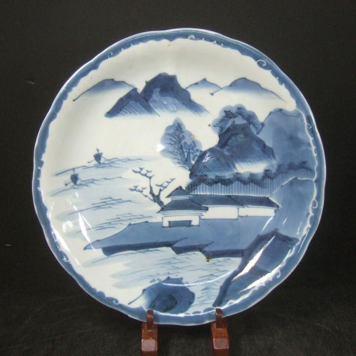 A223 Japanese Old Imari Blue and White Porcelain Plate with Landscape 11 6in | eBay