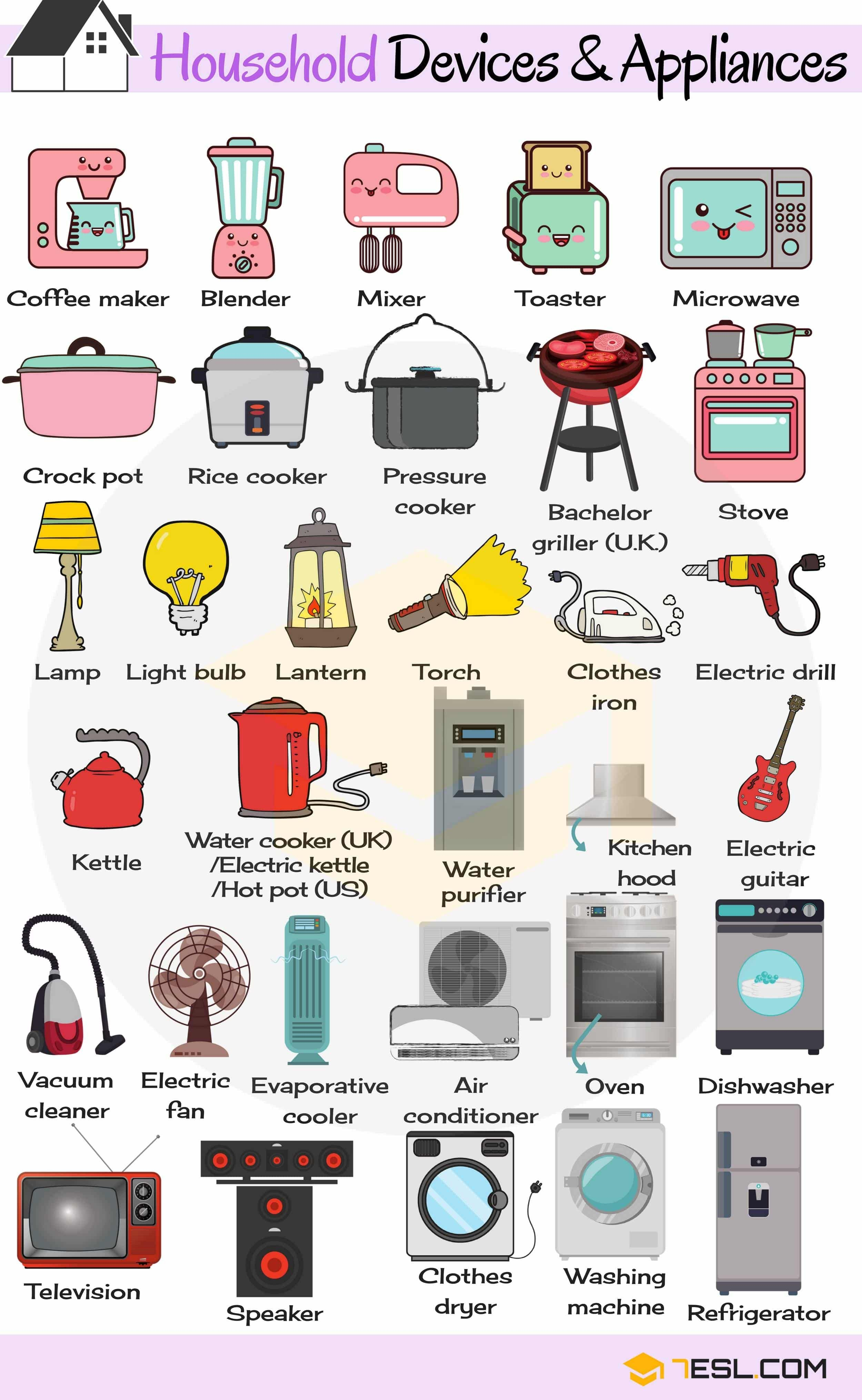 Household Appliances Useful Home Appliances List With Pictures is part of English vocabulary, Learn english vocabulary, English language learning, English language teaching, Learn english, English vocabulary words -  home appliances list with examples and pictures  In this modern day and age, there are a whole host of household appliances and the