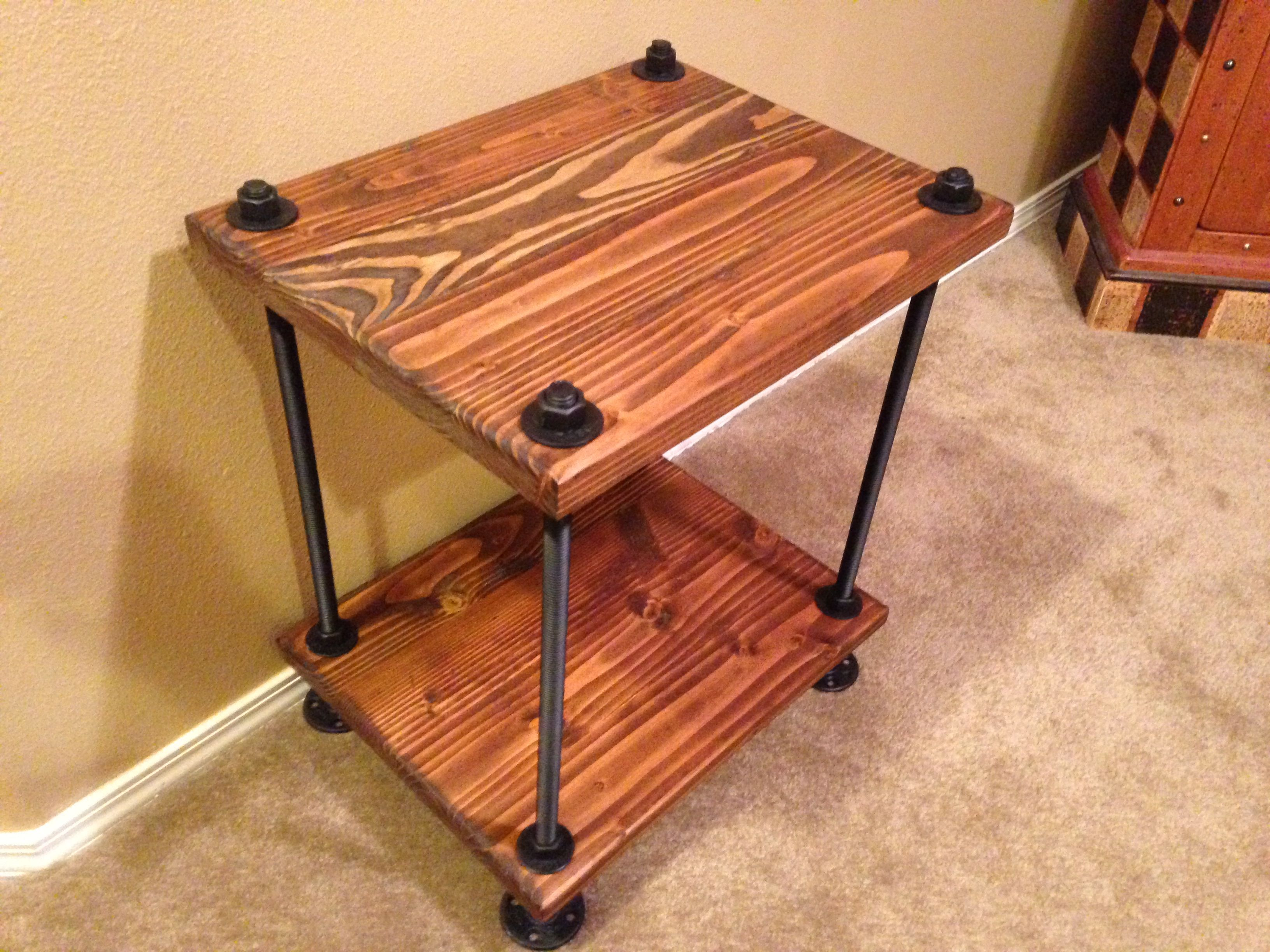 Amazing Reclaimed Wood Industrial Style End Table With Threaded Rod Frame. Under  The Table Woodworks