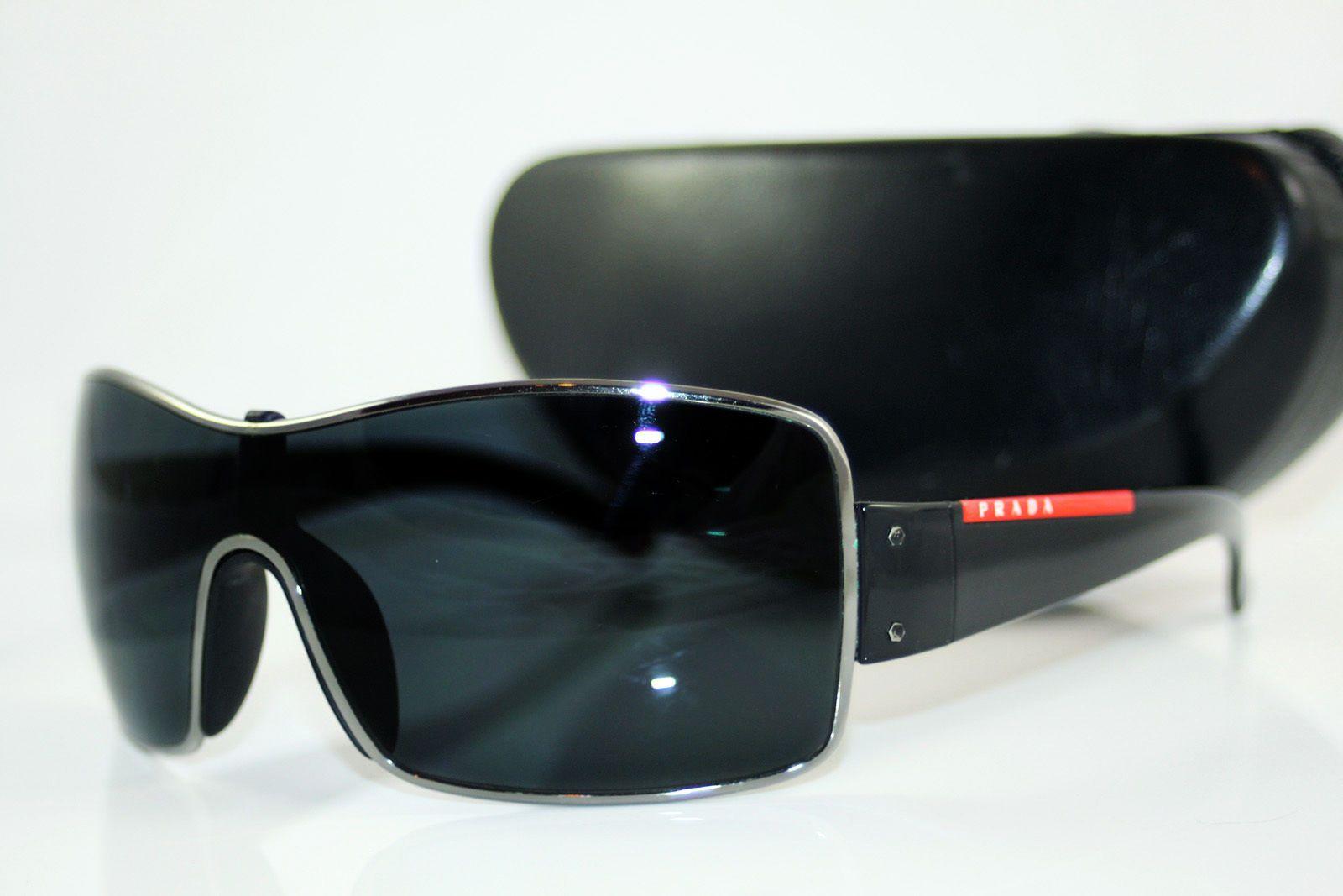 dbbb9e53fb7 Prada Sunglasses (Men s Pre-owned Designer Executive Luxury Aviator Black  Sun Glasses with Red Designer Logo Stripe)