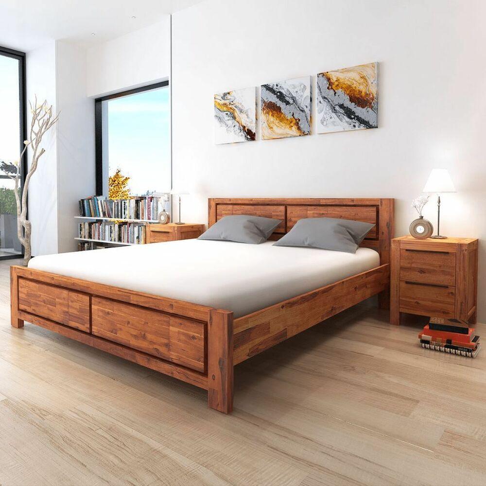 Solid Wooden King Size Bed Frame Headboard Nightstands Set Bedroom