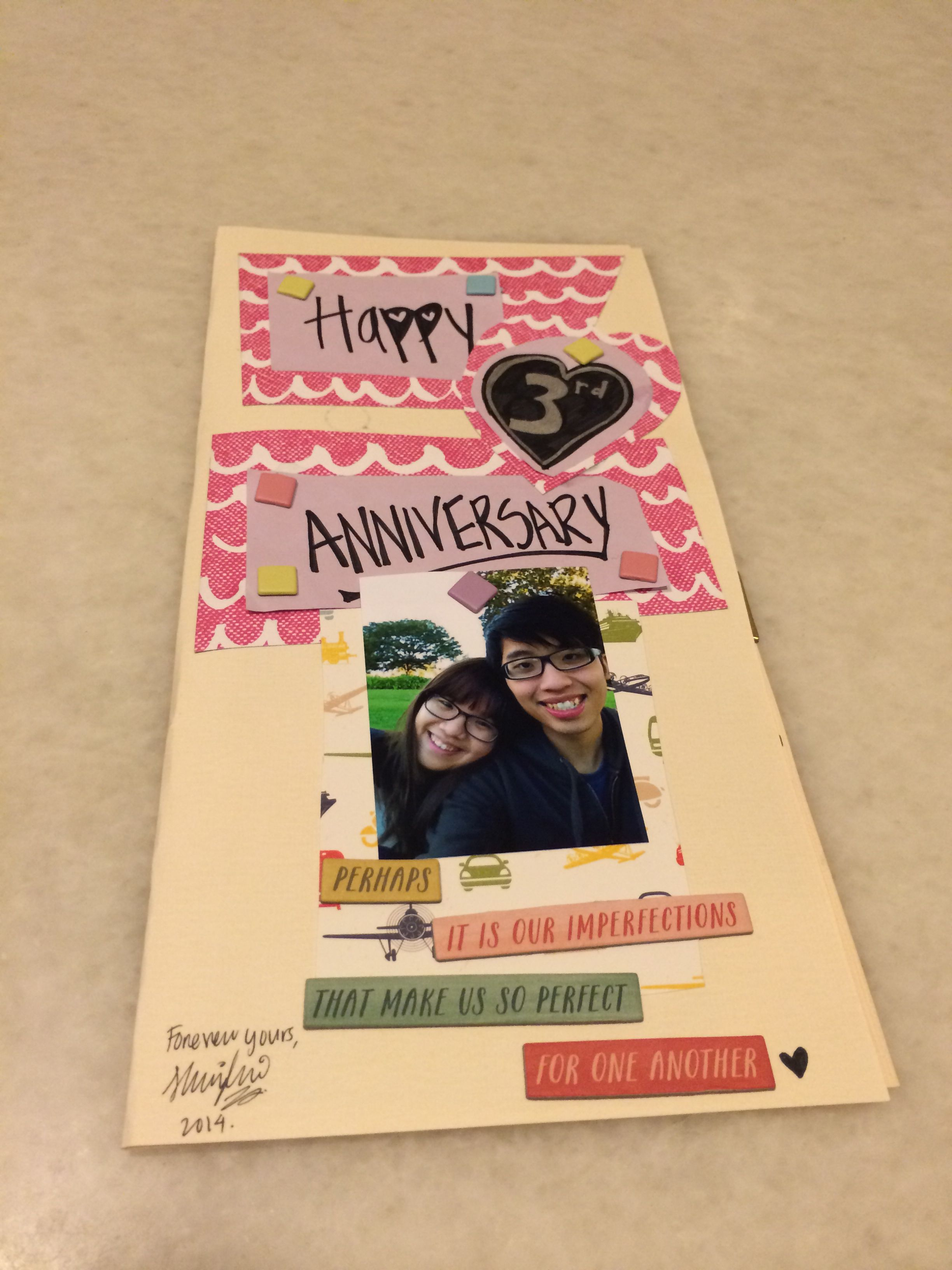 This is a card for our 3rd anniversary, coming up on 15