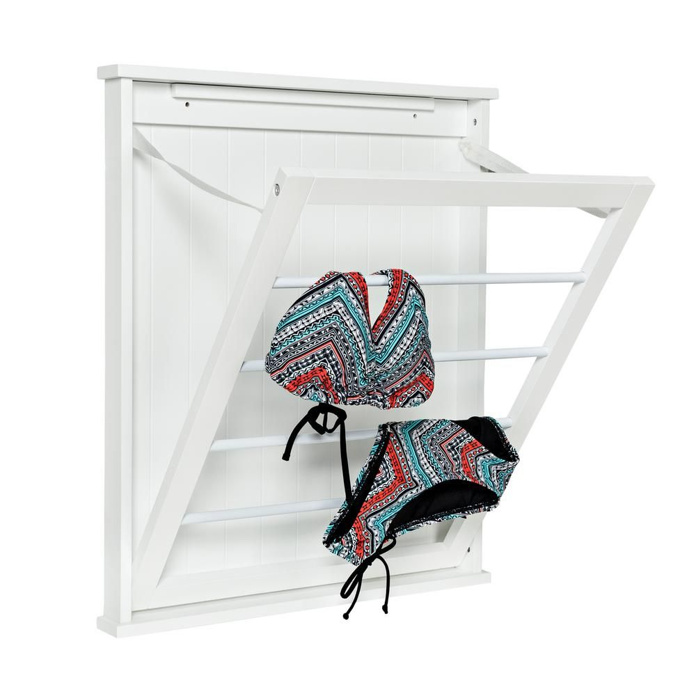 Honey Can Do 23 In X 27 25 In White Single Wall Mount Dry Rack