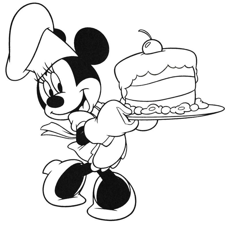 Minnie Mouse Cake Coloring Pages You'll Love