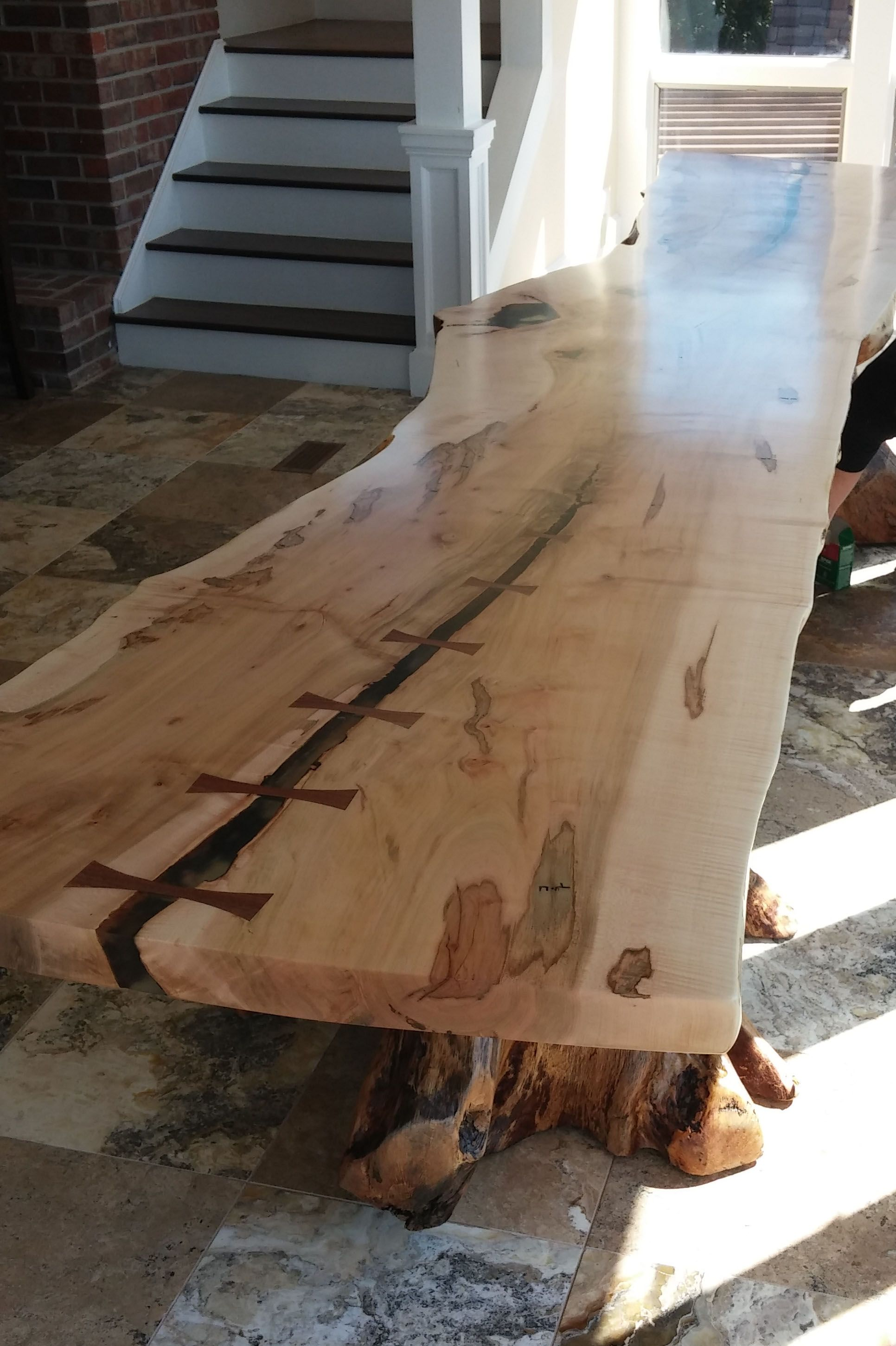 Live Edge Square Table Hard Maple With Wooden X Leg The Maple