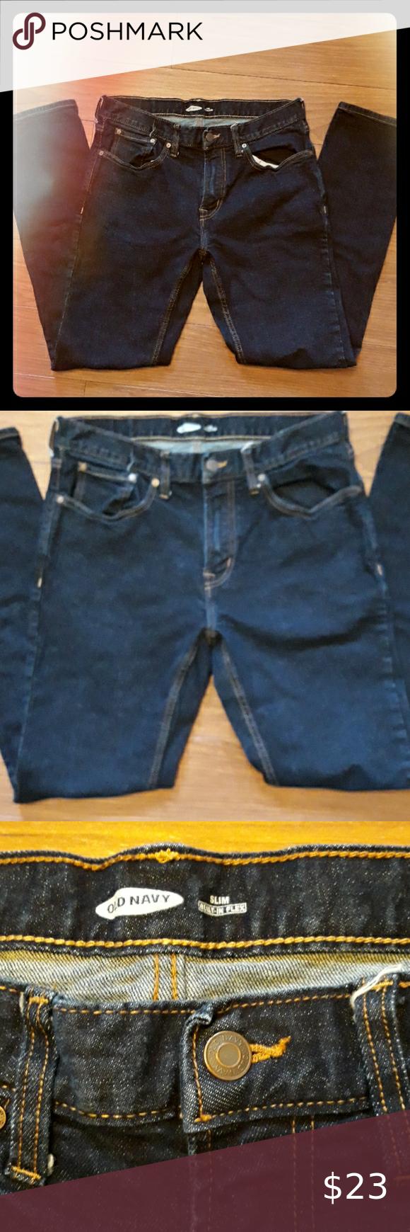 Old Navy Slim Dark Blue Jean Denim Slim Denim Old Navy Dark Blue Jeans