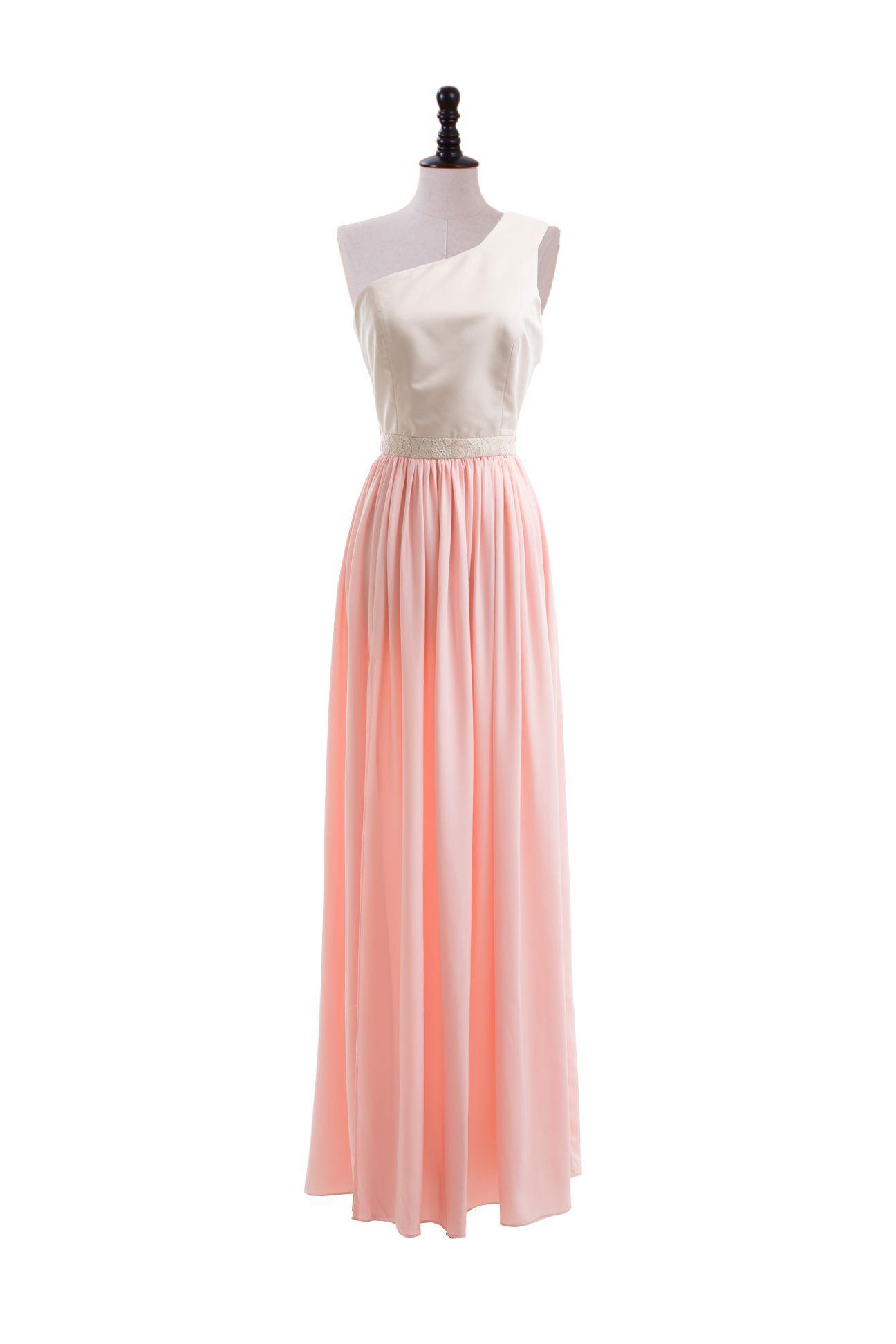 One shoulder floor length bridemaids dress  Read More:     http://www.weddingsred.com/index.php?r=fancy-strapless-lace-meet-satin-short-length-dress.html