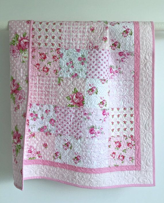 baby girl quilt patterns Adorable Baby Girl Quilt with Tiny Pink by KimsQuiltingStudio  baby girl quilt patterns
