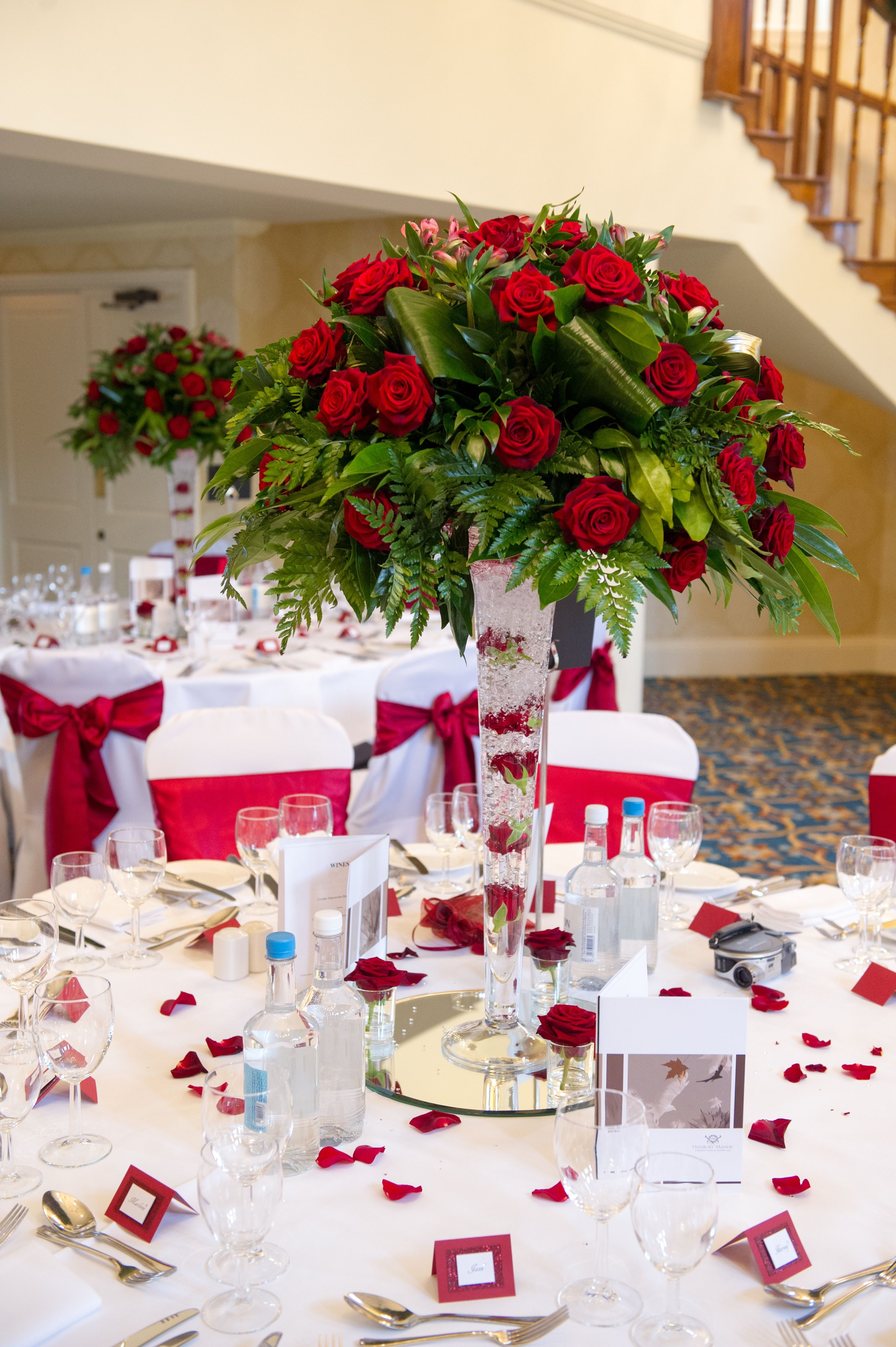 Wedding decorations red  Romantic Red Wedding decoration at Hanbury Manor by Expressions