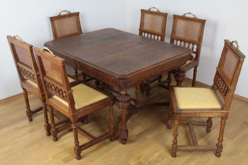 GroBartig Essgruppe Gründerzeit Tisch Sechs Stühle Eiche Massivholz Antiquitäten  Esszimmer