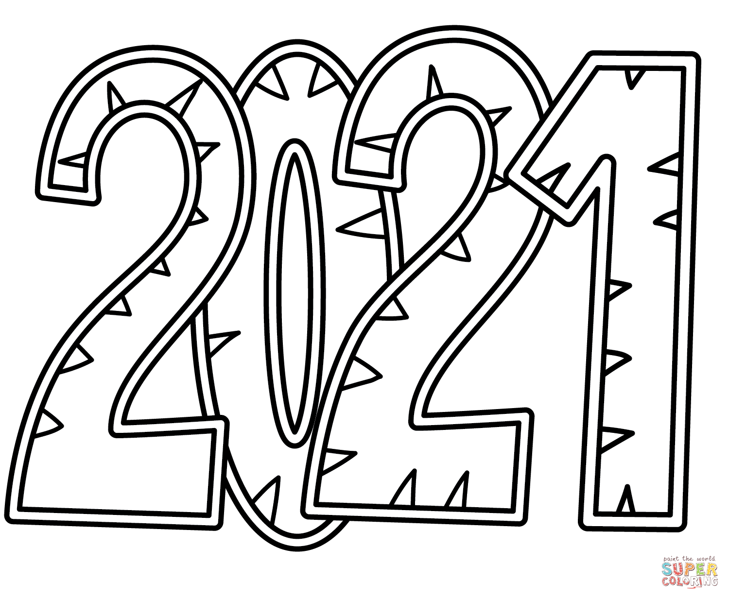 19++ Happy new year 2021 coloring page printable HD