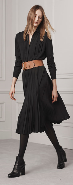 Ralph Lauren OUTFIT INSPIRATION: | Black Wrap Dress + Black Tights + Thick Tan o...
