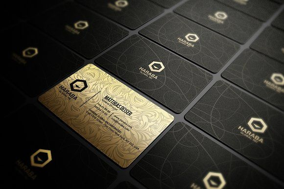 gold and black business card by marvel on creativemarket design templates pinterest black. Black Bedroom Furniture Sets. Home Design Ideas