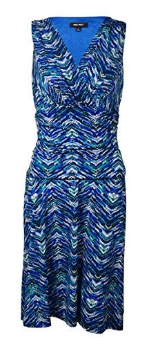 7aac351adec Nine West Womens Halter Ruched Waist Printed Madelyn Dress Regal Blue Combo  10    Click image to review more details.