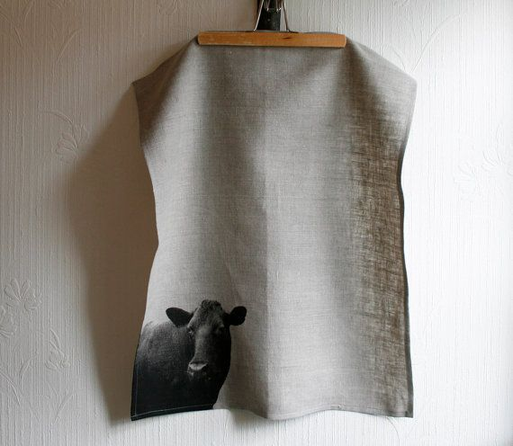 Teatowel screenprinted with mrs Cow by StrandRedesign on Etsy,