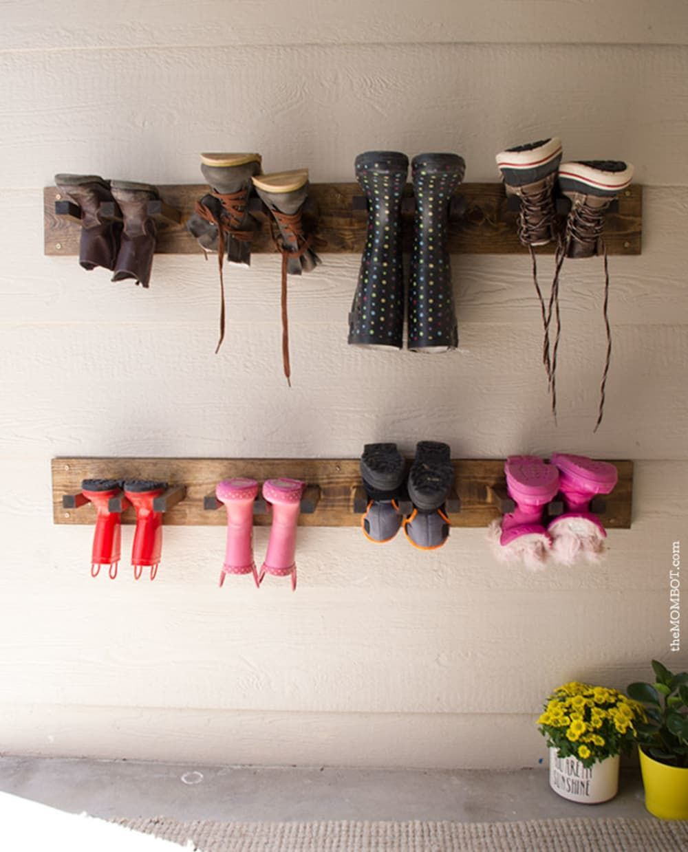 11 Projects That Solve What To Do With All Those Winter Boots Boots Projects Solve Winter In 2020 Garage Shoe Rack Diy Shoe Rack Diy Shoe Storage