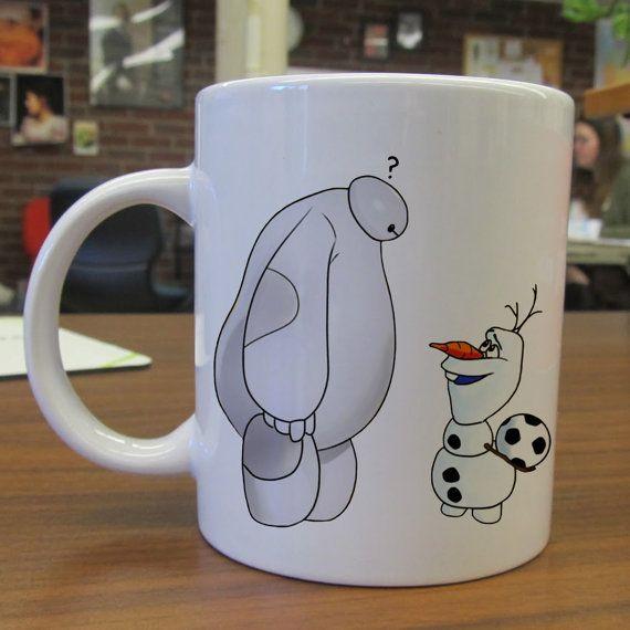 Baymax big hero 6 and olaf frozen ceramic mug by Seemugskecil