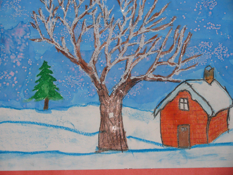 зима картинки рисунок простой