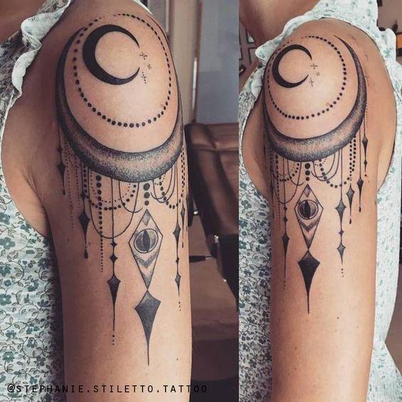 Die aussagekräftigsten Tattoos  stephanie stiletto tattoo moon blackwork line    tattoo #besttattooideas