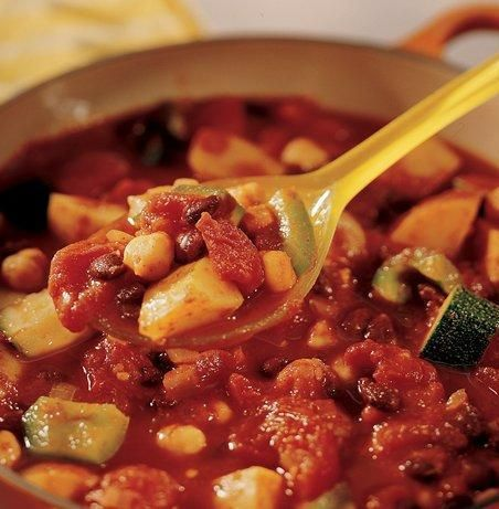 "All of the flavor with none of the meat! This easy veggie chili features hearty potatoes and a protein boost from chickpeas and black beans (you can sub in pinto, navy or kidney beans, though). Betty member Chef Chey says, ""Such a quick, convenient, scrumptious, and unforgettable meal!"""