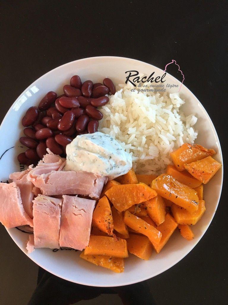 Assiette complète 2 : riz, haricots rouges, Butternut rôtie et jambon - Rachel cuisine