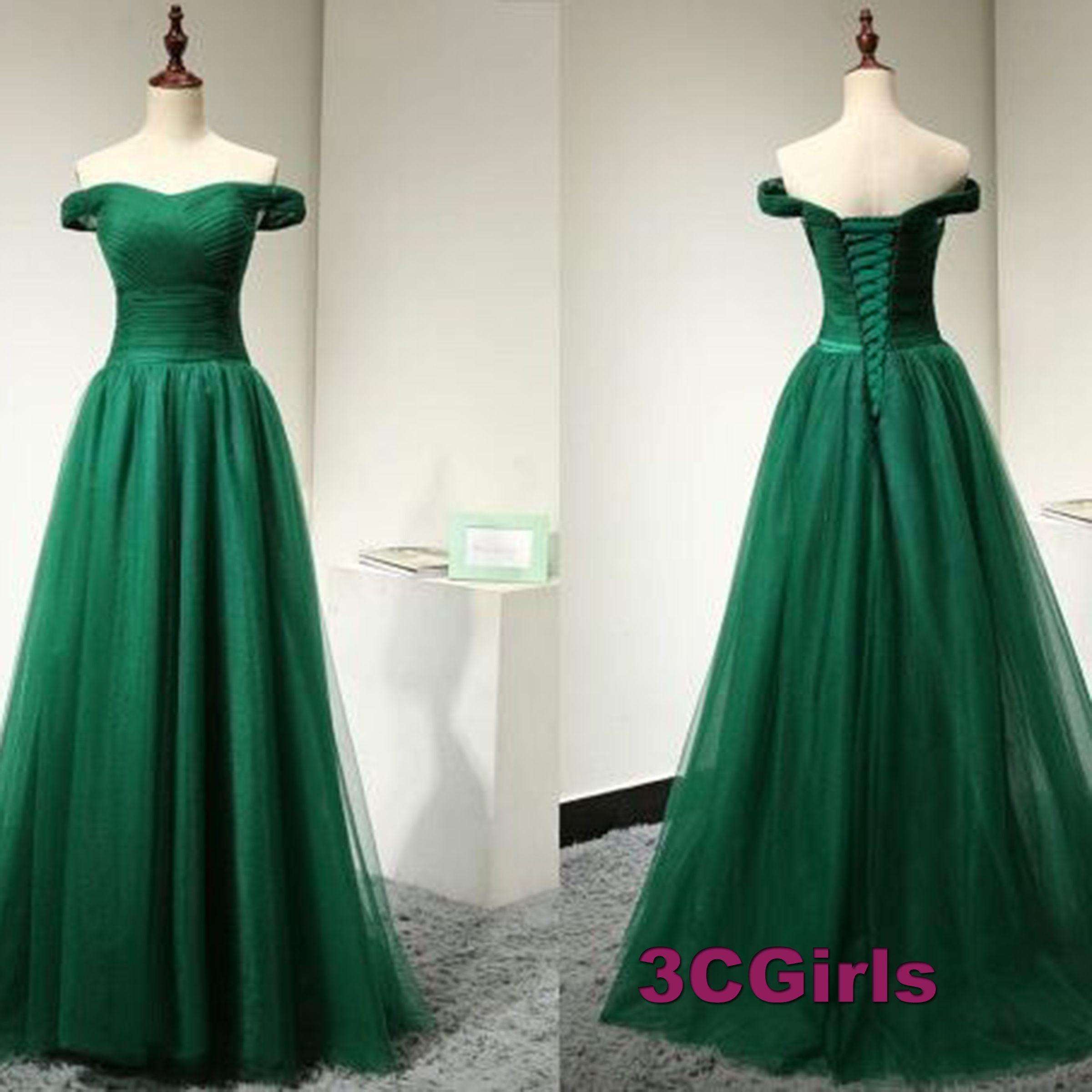 Elegant Green Tulle Long Dress For Prom 2017