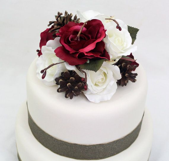 Cake Toppers With Flowers : Winter Wedding Cake Topper - Cranberry Burgundy Red, White ...