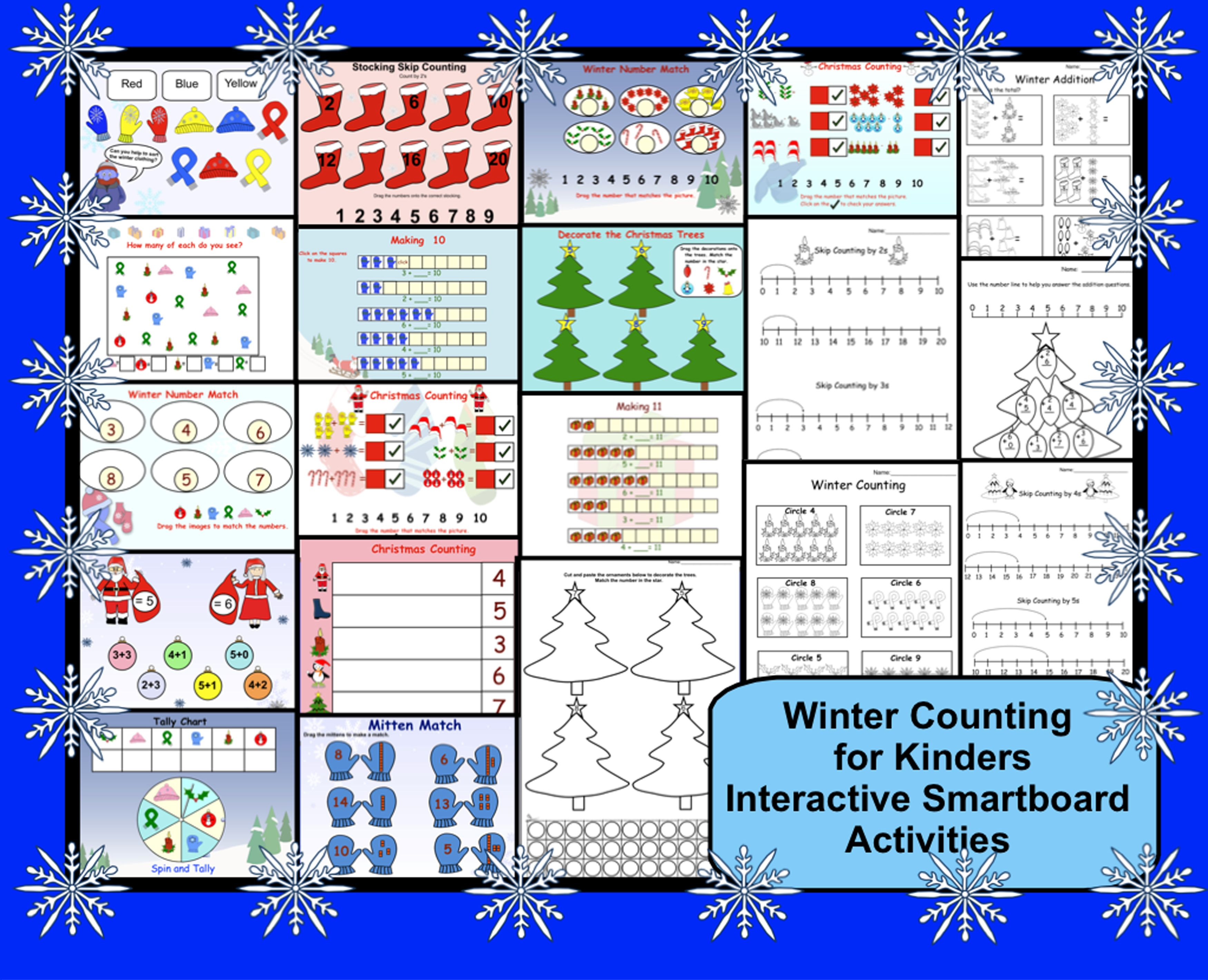 Winter Counting For Kinders Interactive Smartboard